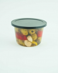 Green pitted olives with peppers